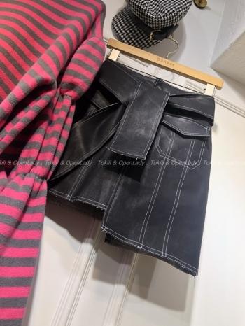 【Z921226】丹寧刷色綁帶短裙