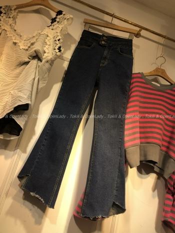 【Z921228】高腰褲管刷破牛仔褲