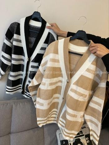 【Z921335】條紋針織毛衣罩衫