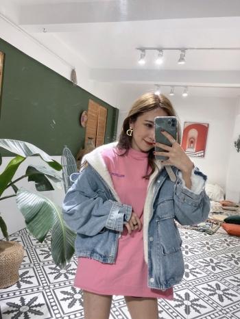【Z821060】毛絨牛仔拼接夾克/外套