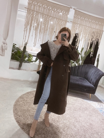 【Z821061】翻領雙排釦長版大衣