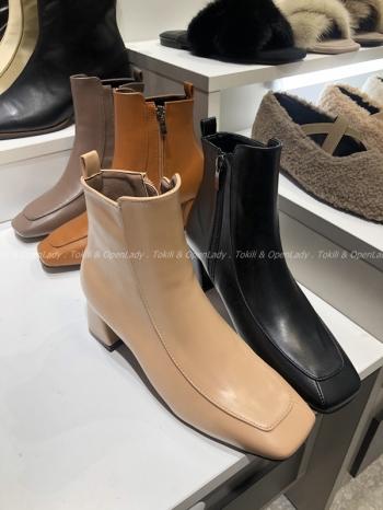 【Z921481】造型縫線方頭短靴
