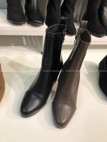 【Z921485】圓頭高跟中筒靴