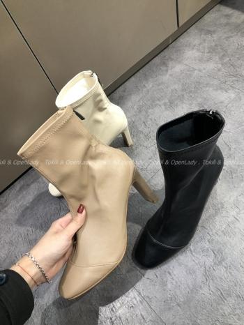 【Z921486】皮質圓頭高跟靴