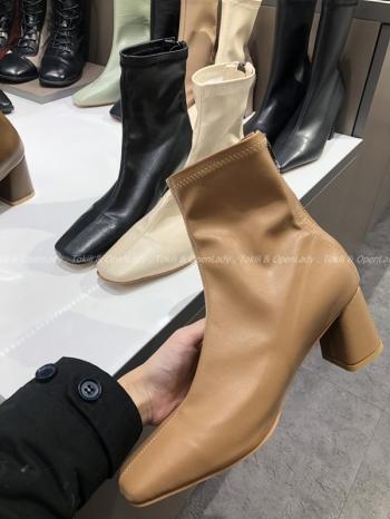 【Z921487】皮質純色短靴