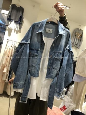 【Z921424】白襯拼接牛仔夾克