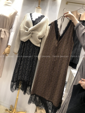 【Z921454】蕾絲拼接背心洋裝