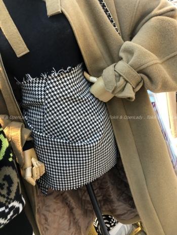 【Z921476】斜邊抓摺短窄裙
