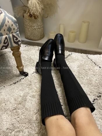 【Z821130】針織襪子粗跟軟皮靴