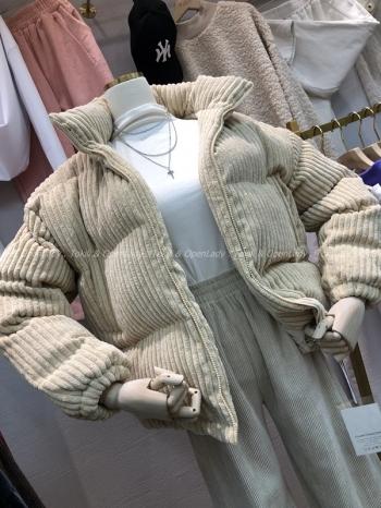 【Z821104】豎紋絨厚鋪棉外套