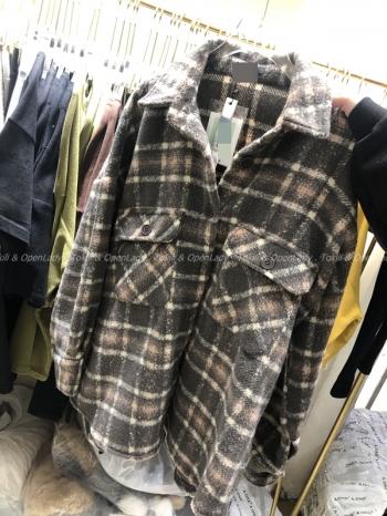 【Z821116】法蘭絨厚料格襯衫