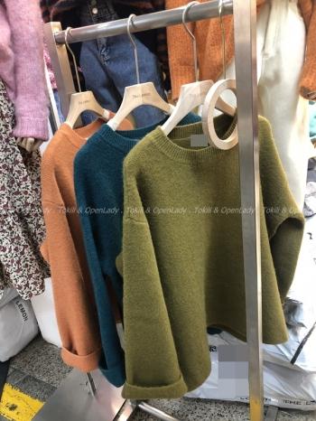 【Z821135】圓領純色羊毛毛衣
