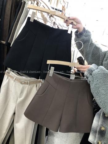 【Z821158】口袋毛呢西裝短褲