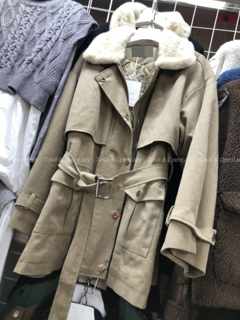 【Z821169】毛領束腰風衣外套