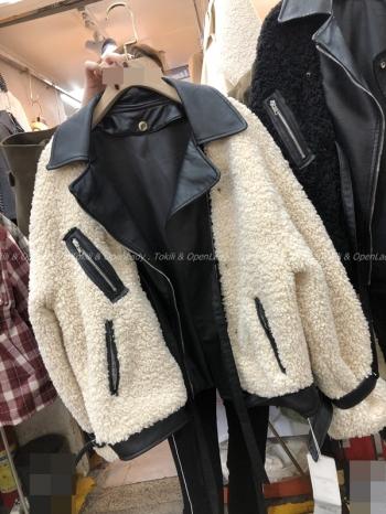 【Z821170】Q毛拼接皮外套