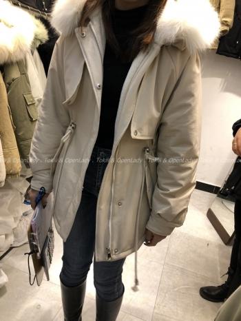 【Z821175】毛領束腰風衣外套