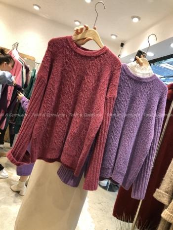 【Z821176】羊絨螺旋紋針織毛衣