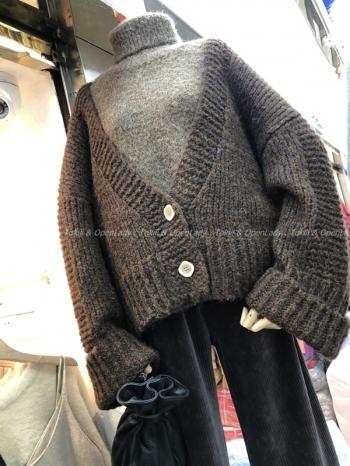 【Z821177】大V領雙釦羊絨罩衫