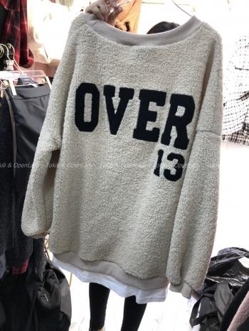 【Z821186】毛絨字母拼接長袖上衣