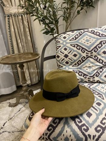 【Z821124】羊毛呢蝴蝶結修小臉帽