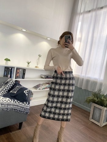【Z821143】高腰格紋長裙