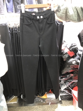 【Z821153】兩釦純黑超彈長褲