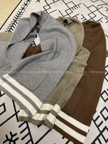 【Z821190】加厚保暖口袋毛線圍巾 190*32cm