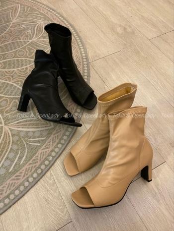 【Z821191】軟皮革方扁跟魚口靴