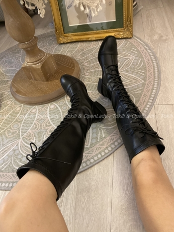 【Z821251】彈力綁帶長筒靴