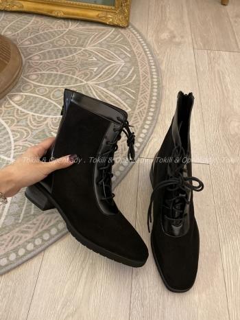 【Z821254】絨拼皮革中筒靴