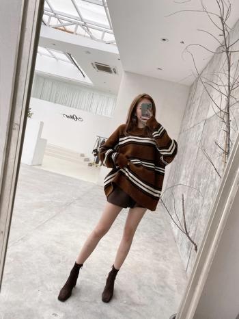 【Z821142】圓領條紋針織毛衣