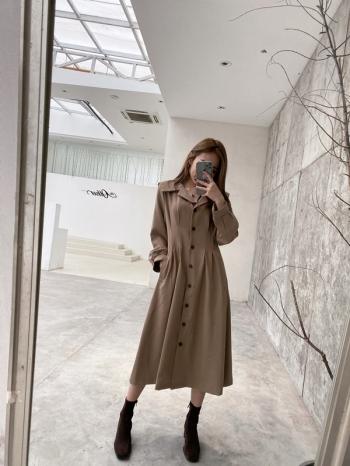 【Z821242】翻領單排釦長洋裝