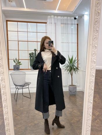 【Z821243】下摺裙設計雙排外套