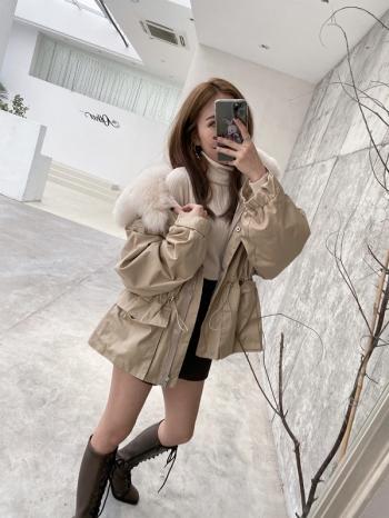 【Z821245】狐狸毛領束腰風衣外套