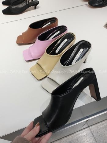 【Z921983】簡約方頭拖跟鞋