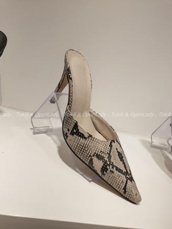【Z921992】蛇紋細跟拖跟鞋