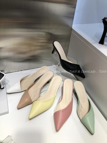【Z922020】半透尖頭拖跟鞋