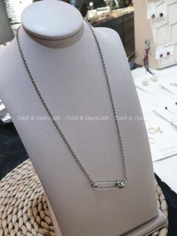 【Z922076】別針造型細鍊項鍊(純銀)