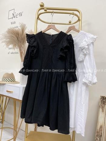 【Z922165】荷葉袖短洋裝