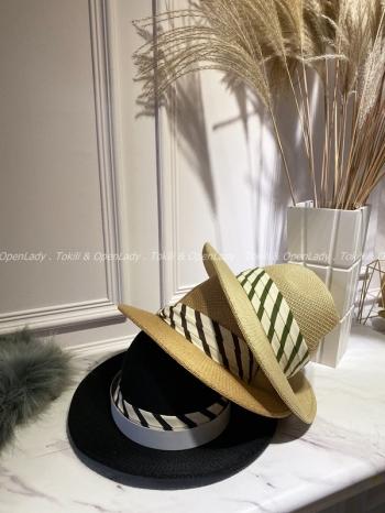 【Z922185】條紋織帶草帽