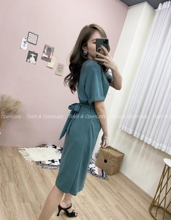【Z821371】扭結短袖連身裙