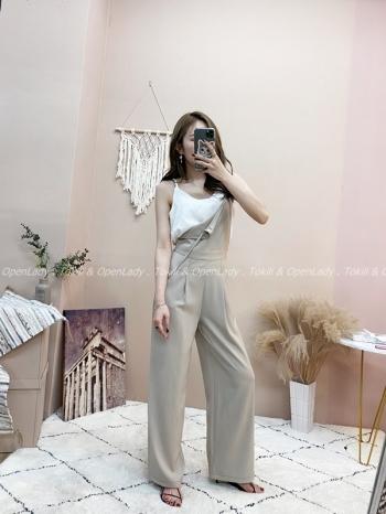 【Z821406】雪紡縫線吊帶寬褲