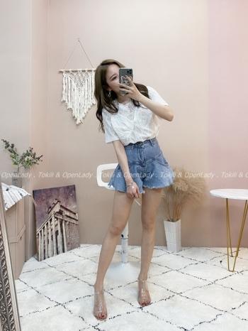 【Z821496】打摺傘狀牛仔短褲