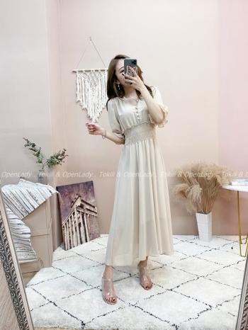 【Z821528】縮腰素色長洋裝