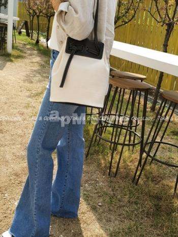 【Z922451】皮質棉麻水桶包 棉(60%) , 皮革(40%)