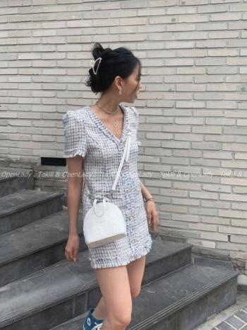 【Z922343】小香風V領連身裙