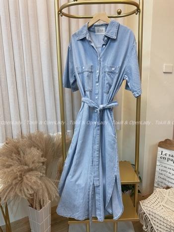 【Z922361】綁帶牛仔長版洋裝