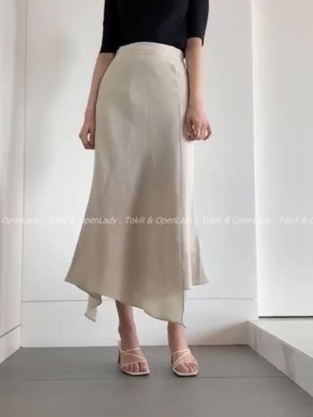 【Z922403】不規則擺麻料長裙
