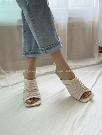 【Z922444】抓皺方頭拖跟鞋