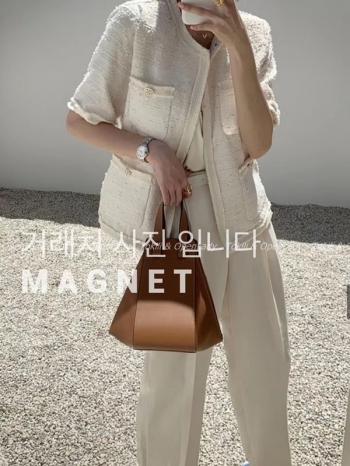 【Z922327】小香風雙袋短袖外套